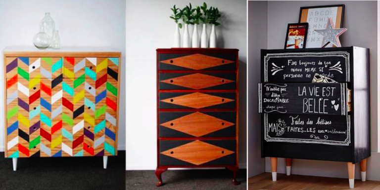 15 ideas to revive old chest of drawers creatistic - Armoire chaussures miroir ...